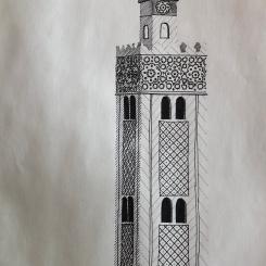 Mosquée, dessin au stylo noir, 2017