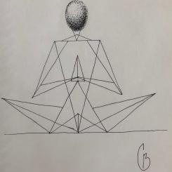 Triangles ellipsoïdes, méditation, dessin au stylo. 2018