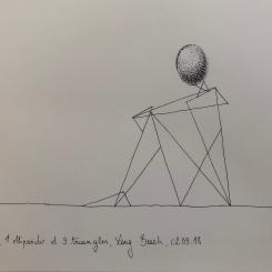 Triangles ellipsoïdes, réflexion, dessin au stylo. 2018