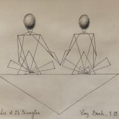 Triangles ellipsoïdes, love, dessin au stylo. 2018