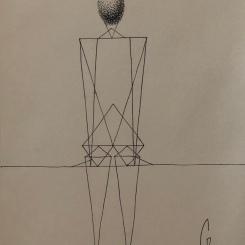 Triangles ellipsoïdes, contemplation, dessin au stylo. 2018