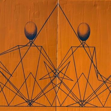 Triangles ellipsoïdes, Love jaune et bleu, diptyque, acrylique