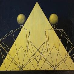 Triangles ellipsoïdes, Love, doré et noir, acrylique