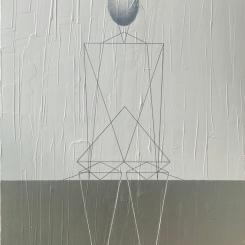 Triangles ellipsoïdes, Contemplation, argent et blanc, acrylique