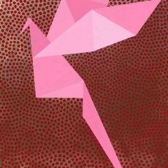 Yin et Yang rose, acrylique su toile