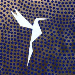 Yin et Yang bleu, acrylique su toile