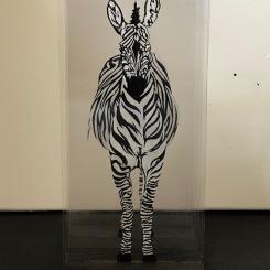 Zèbre, sculpture / peinture en Plexiglas bois